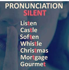 Pronunciation silent English Help, English Speaking Skills, Teaching English Grammar, English Writing Skills, Learn English Words, English Tips, English Language Learning, English Study, English Lessons