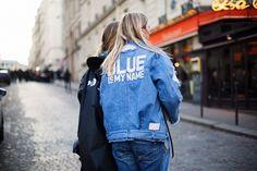 PARIS FASHION WEEK STREET STYLE DENIM BLUES JACKET
