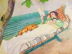 what I would love to do if I ever got all my work done-maybe I should just skip the work.....Carl Larsson