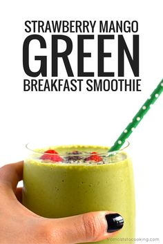 Strawberry Mango Green Smoothie - An easy, quick and tasty on-the-go breakfast smoothie or post-workout drink filled with fruit, greens and greek yogurt. Can easily be dairy free!