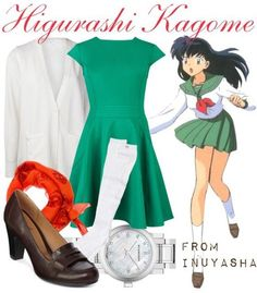 Casual cosplay of Kagome Higurashi (from InuYasha anime series)-- character inspired outfit