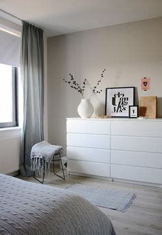 Another grey and white bedroom with a hint of pink. Bedroom by Holly Marder —- white dresser Another grey and white bedroom with a hint of pink. Bedroom by Holly Marder —- white dresser Decor Room, Bedroom Decor, Home Decor, Bedroom Ideas, Cozy Bedroom, Ikea Bedroom White, Bedroom Small, Trendy Bedroom, White Drawers Bedroom