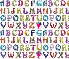 Fancy Party Monogram Alphabet Multi Initials / White Paris Bebe Fabrics fabric by parisbebe on Spoonflower - custom fabric