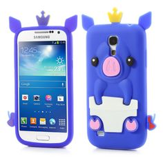 Adorable 3D Crown Pig Silicone Case Cover for Samsung Galaxy S4 mini I9190 I9192