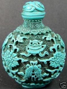 chinese turquoise jade opium snuff bottle