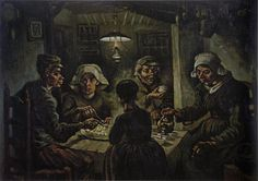 The Potato Eaters, 1885 by Vincent van Gogh. Realism. genre painting. Van Gogh Museum, Amsterdam, Netherlands