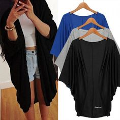 Korean Stylish Ladies Women Batwing Sleeve Loose Casual Long Solid Cardigan Coat SV029033