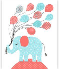 Elephant Nursery Decor Elephant Wall Art Girl Nursery Decor