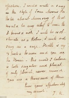 The final love letter of John Keats to Fanny Brawne. Stationery Craft, John Keats, Perfect Relationship, Script Lettering, Letter Writing, Story Inspiration, Cursive, Love Letters, Writing Prompts