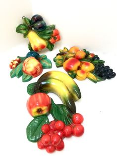 Vintage Colorful Fruit Chalkware Set of Four by AtomicHawks on Etsy