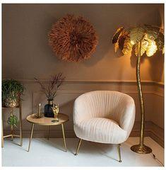 Gold Floor Lamp, Tree Floor Lamp, Floor Lamps, Room Ideas Bedroom, Bedroom Decor, Palm Tree Decorations, Velvet Armchair, Aesthetic Room Decor, Unique Furniture