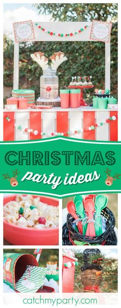 Take a look at this awesome Christmas party! The reindeer drinks dispenser is so cool!!  See more party ideas and share yours at CatchMyParty.com #christmas #santa