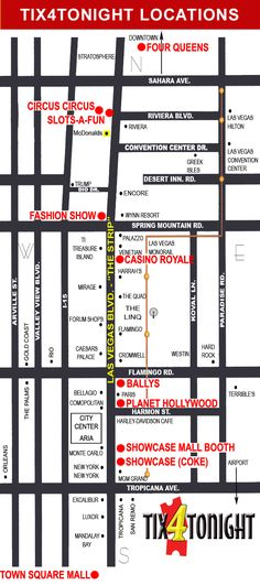 Tix4Tonight Map of Las Vegas Strip  apparently this is where we should get any show tix from :)