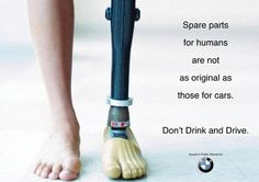 The advertisement shows the appeal of pathos as it stirs up the emotion of sadness within viewers showing the after effects of drinking and driving. It shows that human bodies are fragile and any danger could easily break them. Therefore to lessen the amount of injured people, drivers should not drink and drive.