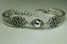 Spoon Bracelet - Sterling Silver Beads, Moss Rose 1949, Silverware Jewelry