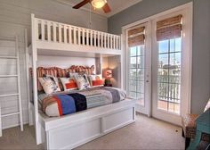 Cottage Kids Bedroom with Carpet, Pottery Barn Brady Sports Quilted Bedding, Ceiling fan, Crown molding