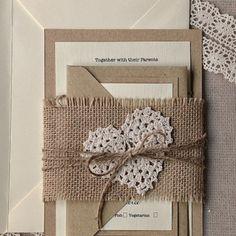 Wedding Invitation #4lovepolkadots#burlap#rustic