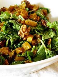 Arugula, as we said yesterday, plays well with sweet fruits and vegetables, like this roasted butternut squash