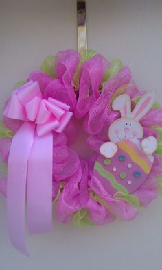 Pink & Lime Deco Mesh Easter Wreath...grapevine wreath base
