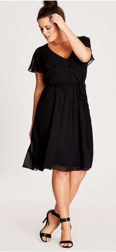 Plus Size Ruffle Dress - Plus Size Party Dress - Plus Size Black Dress