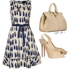 Blue and Cream Dress, created by styleofe on Polyvore