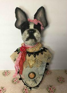 Boston Terrier, French Bulldog animal, anthropomorphic bust, jewelry display. Created by Karen Brady of Brady Bears Studio. www.BradyBears.com