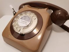 Original Vintage Retro 1970's GPO 746 Rotary Dial Brown Telephone Restored