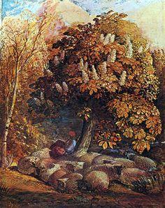 Samuel Palmer, Shepherdess Under a Chestnut Tree, 1832, Watercolour on board, 34 x 26.8cm