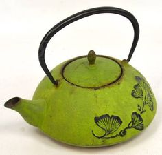 Vintage Cast Iron Green Flower Tea Pot