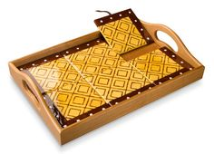 Chocolate Mustard Mudcloth Two-Way Tile Tray