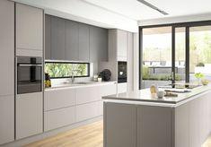 Modern Grey Kitchen, Grey Kitchen Designs, Kitchen Room Design, Kitchen Cabinet Design, Modern Kitchen Design, Home Decor Kitchen, Interior Design Kitchen, New Kitchen, Gloss Kitchen