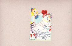 Vintage Valentine Blong Circus Girl Riding White Horse I'd Love To Saddle Myself in Collectibles, Paper, Vintage Greeting Cards | eBay