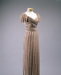 Evening gown, 1939  Claire McCardell (American, 1905–1958)  Brown-and-white striped silk satin