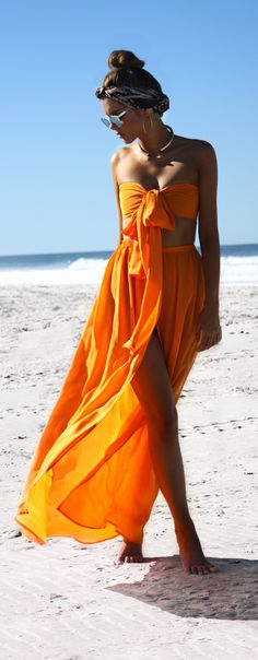 Two Piece Gown in Tangerine Dream. Pure silk - Australian Designer. Perfect dress crop set for a special event, formal, ball, race day, birthday, wedding, prom. Wrapped in over 6 ways! $539