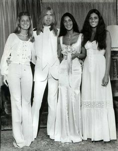 Gregg Allman and Cher (with their sisters) at their wedding in 1975.