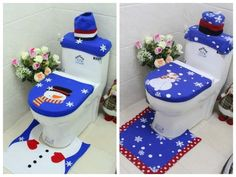 3PCS Snowman Toilet Seat Cover Rug Bathroom Set Decoration Christmas Xmas