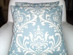 Blue Decorative Throw Pillow Covers by PillowCushionCovers on Etsy