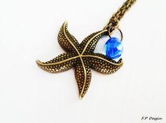 Hier biete ich eine süße Seesternkette mit blauem,leuchtenden Glastropfen,den der kleine Seestern extra aus dem Meer mitgebracht hat :)    Ein niedlic