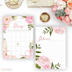 Coordinate your entire bridal shower with printable floral romantic bridal shower games: bridal bingo, mad libs, wedding advice cards and he said she said!