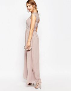 5ca2164623b Little Mistress Ruched Bodice Maxi Dress With Lace Sleeves. ASOS