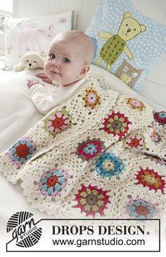 Granny's Little Girl / DROPS Baby 19-22 - Pestrobarevná deka ze čtverců háčkovaných z dvojité příze DROPS Alpaca