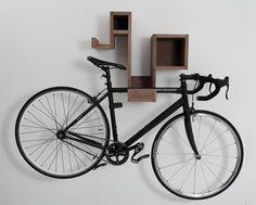 bike rack with shelves.