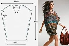 Cómo cser un patrón túnica - easy dress pattern, now where do I find this fabric? Umgestaltete Shirts, Cut Up Shirts, Tie Dye Shirts, T Shirt Yarn, Tunic Shirt, Diy Clothing, Sewing Clothes, Clothing Patterns, Sewing Patterns