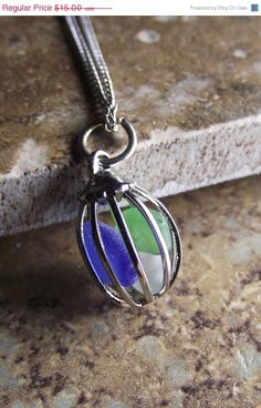 Sea Glass Jewelry - Lantern Pendant Necklace