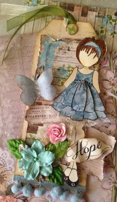 Prima - Julie Nutting stamp - Doll with Ruffle Dress. One of my favourites.