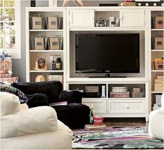 I chose this living area as the design for our living room because it is super cute and comfortable. Due to a lack of space in any apartment, the shelving and chairs are great alternatives to a full-size couch and T.V.