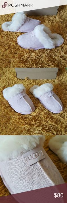 UGG Slippers I am selling a Pair of pair of UGG Slippers. They are size 5 in women. They run big so can fit a size 6. Super cute! This style is called Scuffette II Snake. They are a light pink snake scale texture. Has hologram to prove authenticity. UGG Shoes Slippers