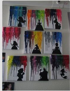 melted wax crayons and Disney. I should try this