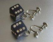 Vintage Dice Earrings Black Bakelite Plastic & Rhinestone Lucky Dice Earrings Fun Retro 1940s