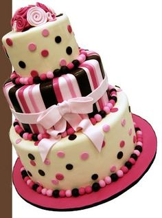 Cake Boss-Dots & Stripes. I want to attempt to make a cake as fabulous as this before I pass on.